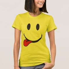 Shop Sticking out tongue emoji T-Shirt created by emoji_pillows. Personalize it with photos & text or purchase as is! Tongue Emoji, Sad Faces, Stick It Out, American Apparel, Fitness Models, Slim, Lady, Tees, Cotton