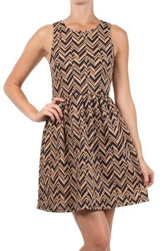 Super cute navy & taupe zig zag dress by Everly. This A-line dress features a round neckline, back keyhole, and button closure. www.swankystarfish.com