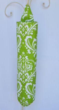 Fabric Plastic Grocery Bag Holder Green Large Flourish. $12.50, via Etsy.