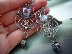 Guinevere - wire wrapped sterling silver and gemstone wire wrapped, metal smithed earrings by CleopatraKerckhof