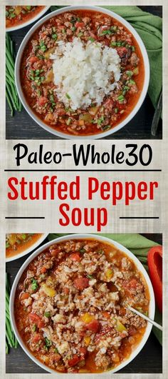 whole 30 recipes This Paleo Stuffed Pepper Soup is easy to make and so hearty. All the flavors of a stuffed pepper in soup form. Gluten free, dairy free, and low FODMAP. Made in the Instant Pot or on the stove top. Whole Foods, Whole 30 Diet, Paleo Whole 30, Whole 30 Soup, Whole 30 Meals, Whole Food Diet, Paleo Soup, Healthy Taco Soup, Whole 30 Recipes