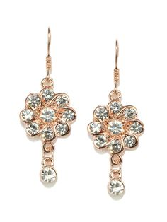Svelte Rose Gold Studded Floral Drop Earrings Style Note  Trendy and stylish jewellery from Svelte, ideal for the contemporary, working woman of today. With fine craftsmanship and unique designs, you can be confident that you'll be making a great impression when you wear these earrings.