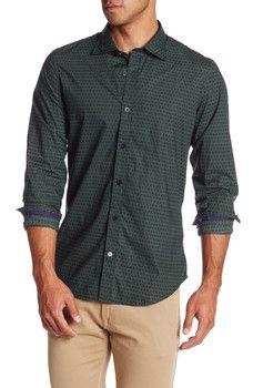 Ganesh - Long Sleeve Basket Weave Print Shirt