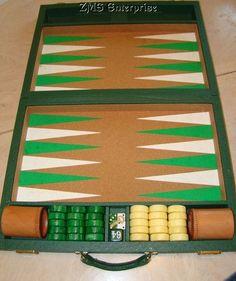 Vintage Bakelite Crisloid Green Butterscotch Backgammon Set