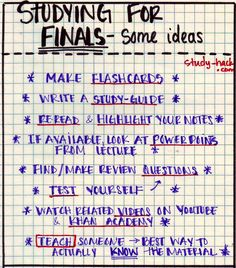 When you need to study for a final/test, but don't know what to do! Here are some ideas: Make flashcards Write a study-guide Reread an...