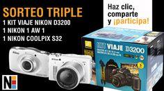 sorteo triple 1 kit de viaje nikon D3200, 1 nikon 1 AW 1, 1 nikon coolper 332