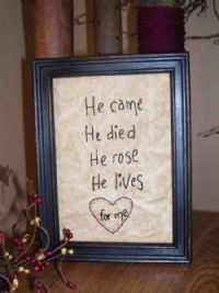 He came, He died, He rose, He lives...for me