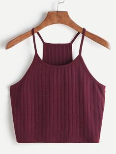Shop Ribbed Knit Racer Back Cami Top online. SHEIN offers Ribbed Knit Racer Back Cami Top & more to fit your fashionable needs. Cami Tops, Cami Crop Top, Cute Crop Tops, Crop Tank, Cropped Cami, Halter Crop Top, Crop Top Outfits, Summer Outfits, Casual Outfits