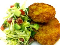 """Quinoa """"Croquettes"""" with Spicy Cabbage-Avocado Slaw recipe from @Mina Kaz (cooking minette)"""