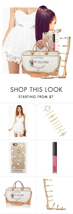 """""""Golden Feet"""" by melaninprincess-16 ❤ liked on Polyvore featuring Nasty Gal, Forever 21, Casetify, NARS Cosmetics, River Island, Giuseppe Zanotti and Allurez"""
