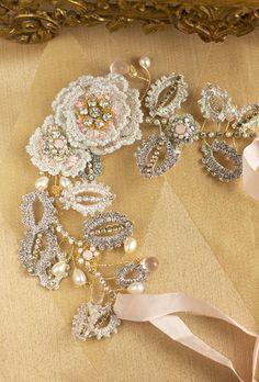 Rose Bridal Head Piece Blush Pink Wedding Hair by EderaJewelry