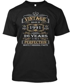 Vintage Age 26 Years 1991 Perfect 26th Birthday Gift