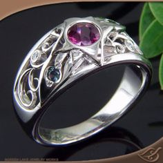 Custom Platinum Pink Sapphire Ring with Filigree and Leaves - See more at: http://www.greenlakejewelry.com/gallery/cust_gallery.aspx?ImageID=87235#sthash.NXCdAdiy.dpuf at Green Lake Jewelry Works