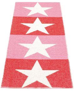 Pappelina Plastic rug Viggo, color: Red / Vanilla / Pink.