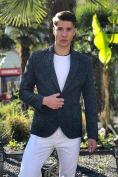 Men's Pure Wool Tailored Slim Fit Blazer  #antoniogatti #woolblazer  #mensstyle #suitjacket   #menscoat #mensblazers #mensjacket  #greyblazer #casualstyle #layering #mensclothing Blazers For Men, Smart Casual, Suit Jacket, Slim, Mens Fashion, Pure Products, Layering, Jackets, Wool