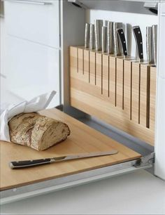 | P | Great idea & design - knife storage + cutting board