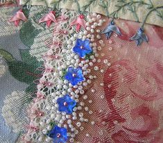 I ❤ crazy quilting . Beaded seam by Lin Moon- Another seam on the encrusted CQ block. Crazy Quilt Stitches, Crazy Quilt Blocks, Patch Quilt, Crazy Quilting, Ribbon Embroidery, Embroidery Stitches, Embroidery Patterns, Sewing Stitches, Quilt Patterns