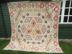 VERY BEAUTIFUL ANTIQUE QUILT dated 1860 Vintage Patchwork 3,500 TINY PIECES