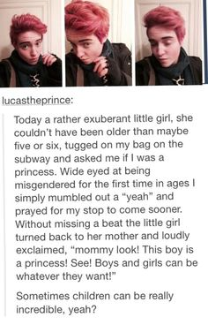 Omfg. So sweet. Princess. Boys and girls can both be princesses. Gender roles, misgendered, princess, little kid