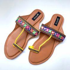 f749be455 Yellow Mirror Work Indian Kolhapuri Sandals Chappals Sandals for Women Women  Flats Boho Summer Sandals Ethnic Flip Flops