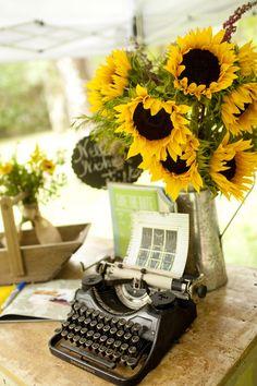 Southern Florida Wedding, Sunflower wedding, sunflowers, sunflower bouquets, typewriter decorations, wedding decor, southern wedding decor, guestbook table ideas, MaryFieldsPhotography_TX  Photo By Mary Fields Photography
