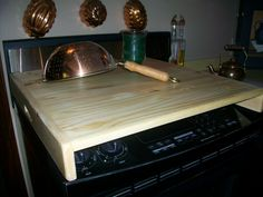 Sleek wood Stove Top Cover  or RV Burner Cover by CreekSideCountry, $69.95