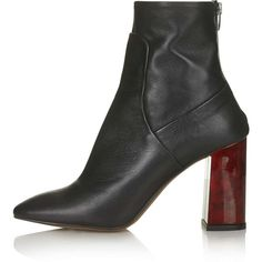 TopShop Master Tortoiseshell Heel Boots (470 RON) ❤ liked on Polyvore featuring shoes, boots, ankle booties, heels, topshop, boots/booties, black, black leather bootie, short leather boots and leather booties