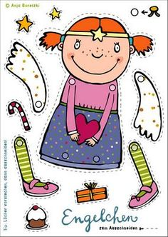 Christmas angels to print, cut and cling - Weihnachten - Lol dolls Paper Puppets, Paper Toys, Paper Crafts, Christmas Activities, Christmas Printables, Christmas Angels, Kids Christmas, Diy For Kids, Crafts For Kids