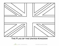 Olympic Worksheets: British Flag Coloring Page - note this is the correct layout for the flag which is not symmetrical - look closely at the cross bars.
