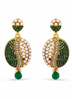 Wonderful Beige, Green & Gold Color Earrings