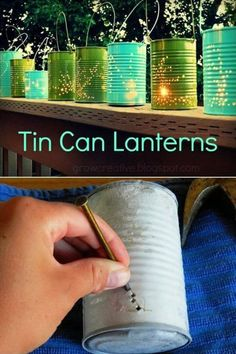 20 DIY Garden Lighting Projects To Beautifully Illuminate Your Outdoors Recycled Tin Can Lanterns Garden Lighting Projects, Garden Lighting Diy, Lighting Ideas, Outdoor Lighting, Backyard Lighting, Recycled Tin Cans, Recycled Garden, Recycled Decor, Garden Crafts