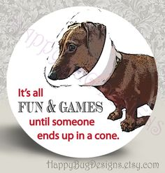 "Doxie Fun & Games - Buy 2 Get 1 FREE - 2.25 Inch Magnet or Pocket Mirror - Dachshund 2-1/4"". $3.50, via Etsy."