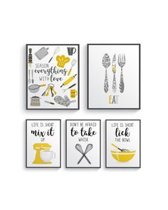Funny Mustard Yellow Gray Kitchen Wall Decor, Yellow Kitchen wall art prints set, Kitchen prints, Modern Home Decor, Dining room decor - All About Decoration Grey Yellow Kitchen, Grey Kitchen Walls, Yellow Kitchen Decor, Grey Kitchens, Yellow Home Decor, Kitchen Cabinets, Modern Kitchen Wall Decor, Grey Wall Decor, Kitchen Prints