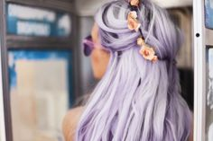 Purple hair with flowers