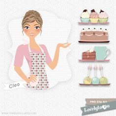 Baking pies for thanksgiving baker girl digital PNG by Lovelytocu