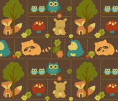 OK...here's something I could really get into: Spoonflower apparently allows you to design your own fabric! I need to research this more. I really like this one, created by saraink: Cuddly Woodland Animal Bricks