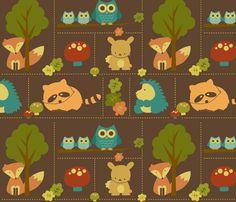 Cuddly Woodland Animal Bricks fabric by saraink on Spoonflower - custom fabric