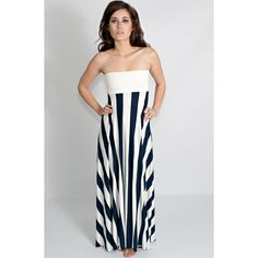 You + Me Striped Navy and White Maxi Dress - Dresses
