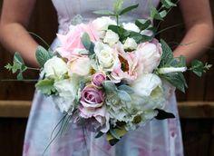 Blush pink and Ivory bridal wedding bouquet, roses / peonies / eucalyptus / silk / keepsake bouquet