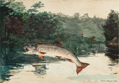 Winslow Homer (1836-1910) - Leaping Trout, 1889