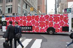 Marimekko's style is now across the globe, here UNIKKO print on a bus in NYC.