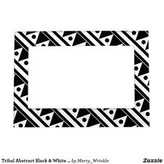 Tribal Abstract Black & White Circles & Triangles Magnetic Photo Frame #photoframe #magnet #pattern #blackandwhite