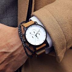 Chrono White Black/Tan Leather – MVMT Watches