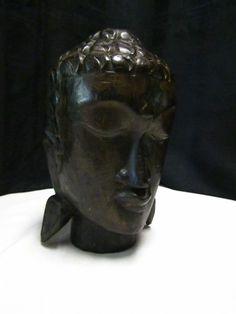 Carved Wood Buddah Head Buddha Bust Sculpture Finding Zen