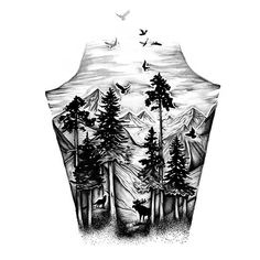 Mountains and Birds Tattoo