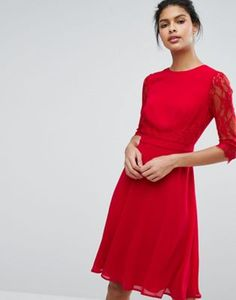 Elise Ryan Midi Skater Dress With Lace Waist And Sleeve