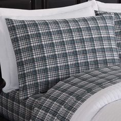Refresh your bedroom with the understated style and sumptuous comfort of the London Fog Suffolk Sheet Set. This sensational sheet set showcases a trendy, classic plaid pattern with deep tones of blue, green, and grey against a white background. Twin Sheets, Twin Sheet Sets, Plaid Pattern, Comforters, Duvet, Bed Pillows, London, Blanket, Bb