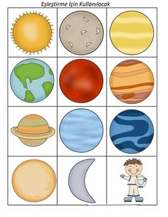 uzay_eşleştirme_kart on for kids Science Activities, Science Projects, School Projects, Solar System For Kids, Solar System Projects, Planets Preschool, Preschool Art, Solar System Worksheets, Planet For Kids