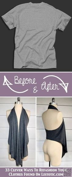 Old Tee turned into a cute draped vest! No sewing just cutting. - I Arted Shirt - Ideas of I Arted Shirt - Old Tee turned into a cute draped vest! No sewing just cutting. Diy Clothes Refashion, Diy Clothing, Sewing Clothes, Shirt Refashion, Diy Fashion, Ideias Fashion, Fashion Ideas, Fashion Clothes, Ladies Fashion