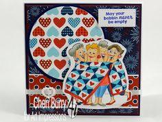 Art Impressions Rubber Stamps: Quilt Set (SKU #4544) ... handmade girlfriends card.